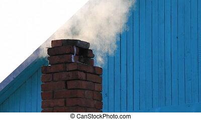 Smoked smokestack - Roof red brick smokestack smoked