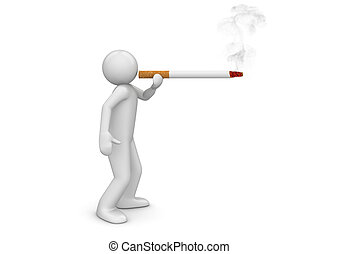Smoker puffing cigarette - Lifestyle collection - 3d...