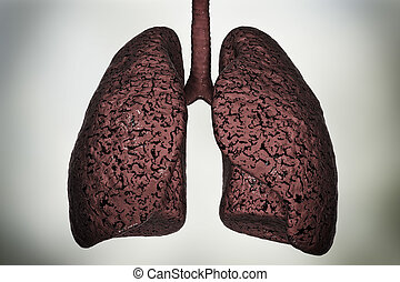 Smokers lungs, medical concept