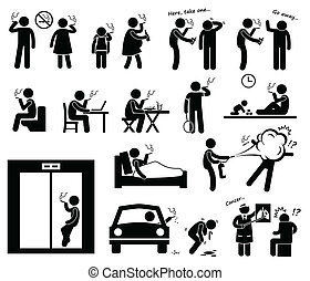 A set of human pictogram representing a smoker smoking in various places without consideration. At the end, the doctor tell him that he had lung cancer.