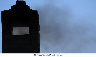 Smokes smoked old stone smokestack