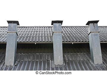 Smokestack on roof isolated
