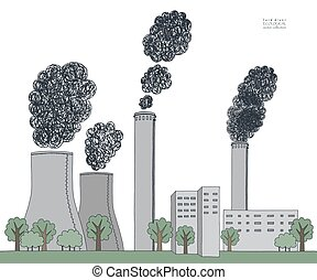 Smokestack on white background. Illustration of air pollution caused by black fume from factory and plant pipe, tube, trunk. Coal station. Colored hand drawn vector sketch
