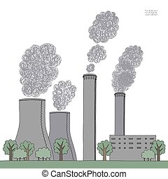 Smokestack on white background. Illustration of air pollution caused by fume from factory and plant pipe, tube, trunk. Coal station. Colored hand drawn vector sketch