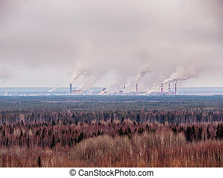 Smokestack that pollute atmosphere - Smokestack that pollute...