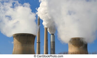 Smokestacks and Cooling Towers Loop - White smoke and steam...