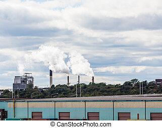 Smokestacks Beyond Commercial Area