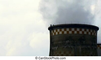 Smokestacks of factory tubes chimney smoke. Environmental...