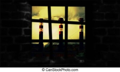 Smokestacks over the window. Type of pipe outside the window...