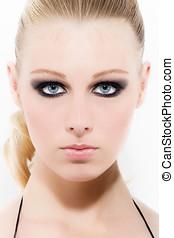 Smokey Eyes - Blonde woman with beautiful make-up.