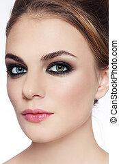 Smokey eyes - Close-up portrait of young beautiful stylish ...