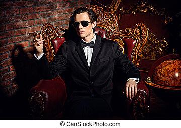 smoking a cigar man