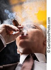 Smoking a good cigar. Low angle view of senior businessman smoking cigar