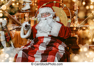 smoking a pipe Santa