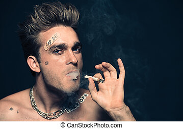 smoking addicted man