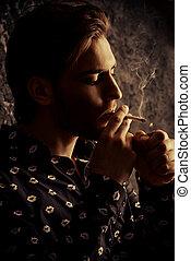 smoking alone