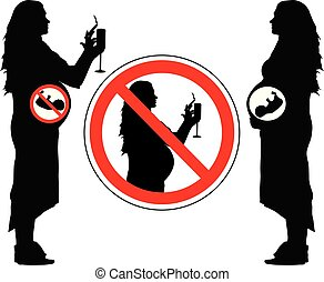 Smoking and drinking alcohol of pregnant woman can lead to miscarriage of baby, forbidden sign, vector.