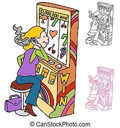 Smoking and Gambling Slot Machine Player - An image of a...