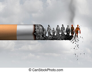 Smoking and society smoker death and smoke health danger concept as a cigarette burning with people falling as victims in hot burning ash as a metaphor causing lung cancer risks with 3D illustration elements.