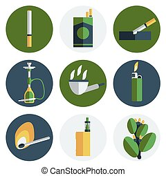 Smoking and tobacco flat icons