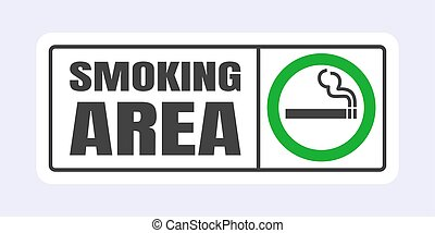 Smoking area sign. Green circle cigarette icon sign isolated on light gray background vector illustration.