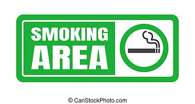 Smoking area sign. Green circle cigarette icon sign isolated on white background vector illustration.