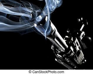 smoking assault rifle - AR-15 style rifle that has smoke...