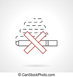Smoking ban flat line vector icon