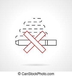 Smoking ban flat line vector icon