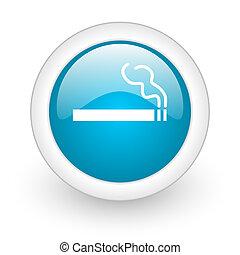 smoking blue circle glossy web icon on white background