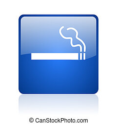 smoking blue square glossy web icon on white background