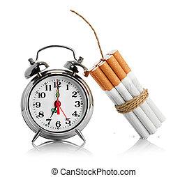 smoking., branca, parada, isolado, fundo