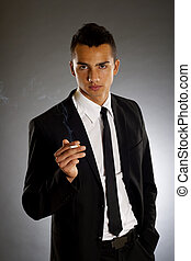 smoking businessman