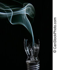 smoking busted lightbulb - smashed lightbulb fixture oozing...