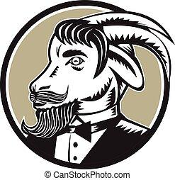 smoking, círculo, cabra, woodcut, barba