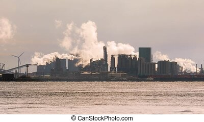 Smoking chemical plant - Chemical processing plant complex...