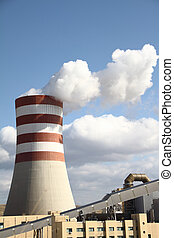 Smoking chimney of a power plant - Smoking chimney of a...