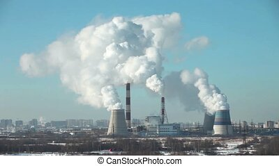 thermal power station time lapse - smoking chimneys of...