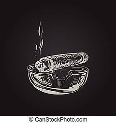 Smoking Cigar With Ashtray