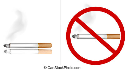 Smoking cigarette and no smoking sign. Vector.