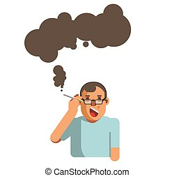 Smoking cigarette health disease risk brain ilness vector flat icon