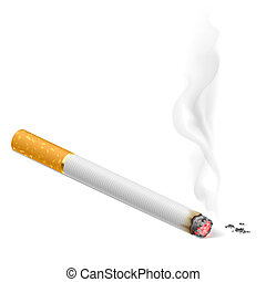 Smoking cigarette. Illustration on white background for...