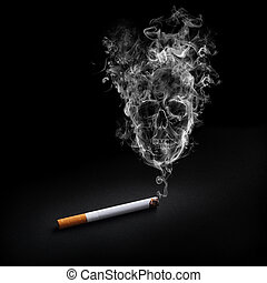Smoking cigarette with shape of skull on the smoke Smoking...