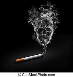 Smoking cigarette with shape of skull on the smoke Smoking Kills. Nicotine addict