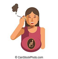 Smoking cigarette woman health disease risk pregnancy malformation vector flat icon