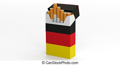 Smoking, cigarettes Germany. German flag on a cigarette pack isolated on white background. 3d illustration