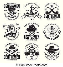 Smoking club and tobacco products vector emblems