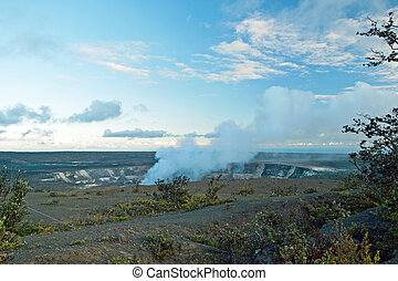 Smoking Crater of Halemaumau Kilauea Volcano in Hawaii...