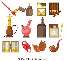 Smoking devices and tobacco products isolated icons, pipe ...