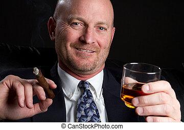 Smoking Drinking Man